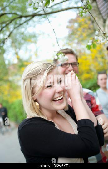 Closeup on happy girl - Stock Image