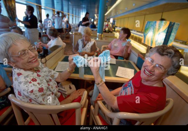 Bahamas Atlantic Ocean Holland America Line ms Maasdam cruise ship senior women arts and crafts - Stock Image