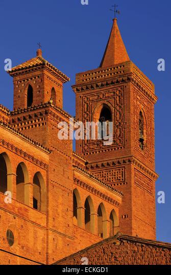 Spain, Aragon, Zaragoza, Torralba de Ribota, Saint Felix, listed as World Heritage by UNESCO, bell tower at sunrise - Stock Image