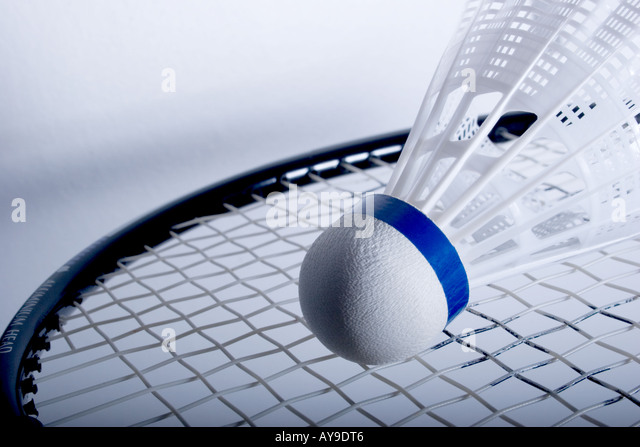 badminton racket with shuttlecock - Stock Image