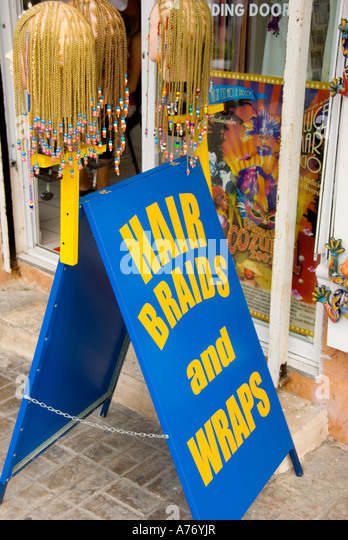 Cozumel Mexico San Miguel town hair braid sign - Stock Image