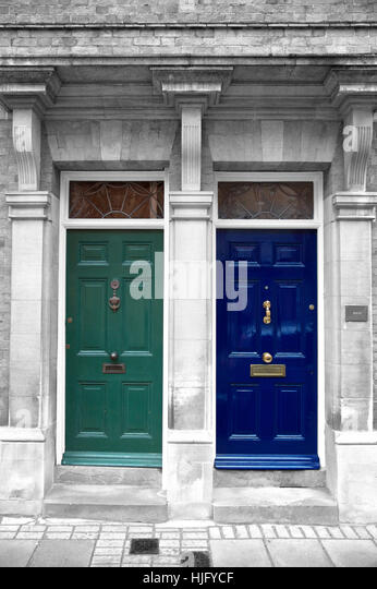 Antique painted doors in London, England - Stock Image