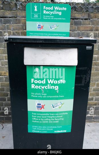 Food waste recycling bin in street, Shoreditch, London - Stock Image