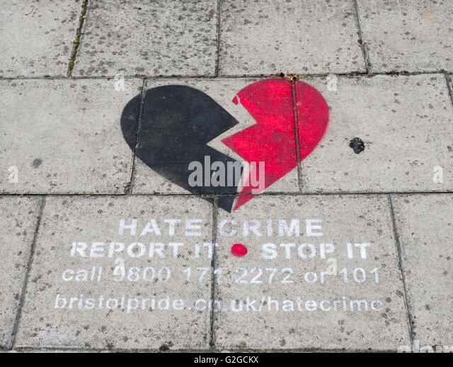 Pavement mural highlighting the site of a Hate Crime in Bristol - Stock Image