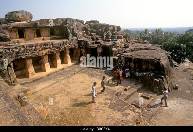 India Orissa Bhubaneswar Udayagiri Caves Jaya Vijaya cave - Stock Image