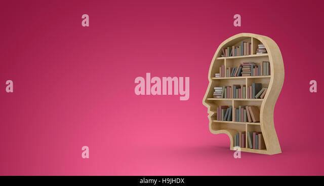 Composite image of books in brown human face bookshelves - Stock Image