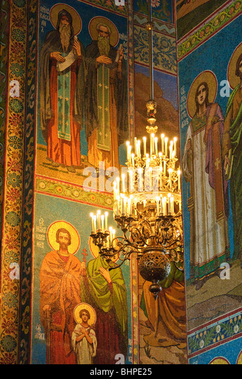 Mosaics cover the interior of the Church of the Saviour on the Spilled Blood (Khram Spas-na-Krovi), St Petersburg, - Stock Image