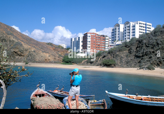 Isla Margarita island Venezuela Porlamar City fishing boats - Stock Image