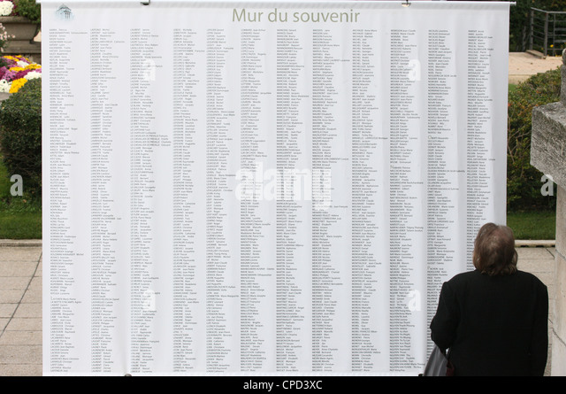 Wall of names in the Pere Lachaise graveyard, Paris, France, Europe - Stock Image