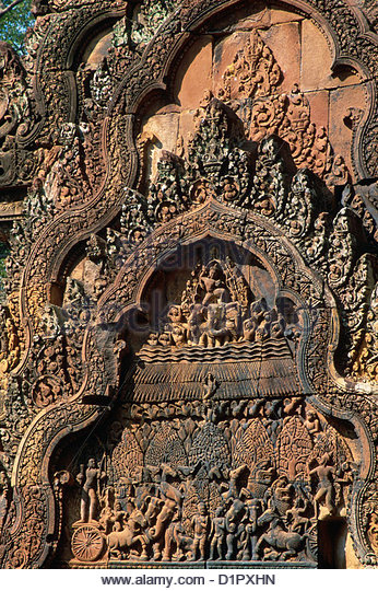 CAMBODI Angkor Khmer culture, Banteay Srei (2nd half of 10th c.), Hindu temple;scene from the Indian epic, the Mahâbhârata - Stock Image