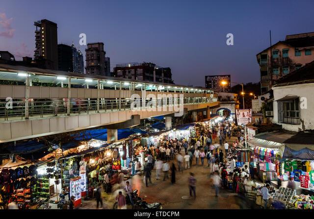 Mumbai India Indian Asian Grant Road East Bharat Nagar Alibhai Premji Road night nightlife shopping street market - Stock Image