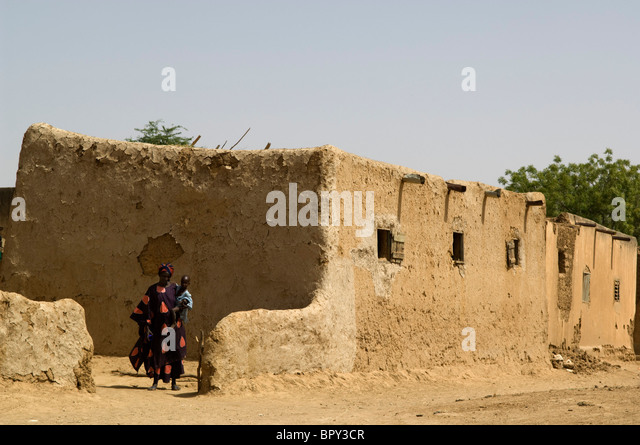 Typical mud house of the Senegal river region, Senegal - Stock Image