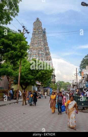 Meenakshi Amman Temple (also called: Meenakshi Sundareswarar Temple, Tiru-aalavaai and Meenakshi Amman Kovil) is - Stock Image
