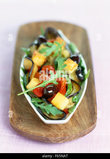 grilled vegetables with crunchy diced polenta - Stock Image
