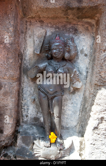 One of the 64 yoginis in the 9th century Yogini Temple, worshipped for their assistance to goddess Durga, Hirapur, - Stock Image