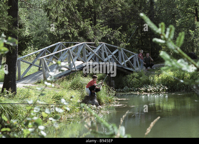 A boy angling close to the bridge in the environs of the Abramtsevo estate museum - Stock Image