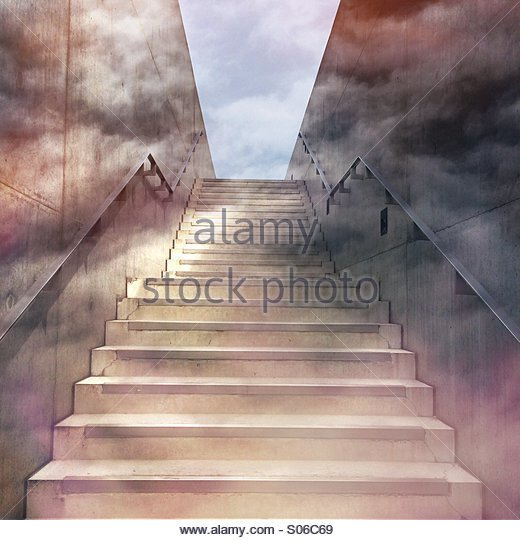 Concrete staircase with surreal effect - Stock Image