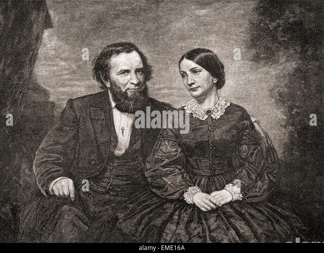 Joshua Fry Speed, 1814 –1882 and his wife Lucy Gilmer Fry,  1788 – 1874.  Joshua Fry Speed, general store co-owner - Stock Image