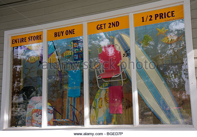 South Carolina Hilton Head Island South Forest Beach resort Coligny Plaza shop shopping store business window beach - Stock Image