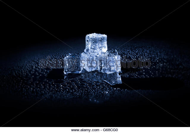 Ice cubes black background