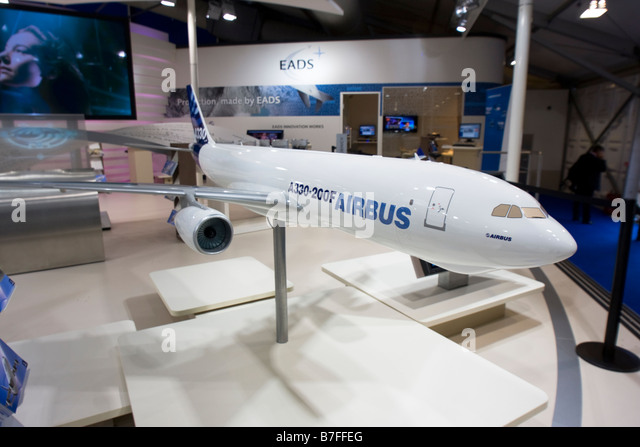 Model of Airbus A330-200F mid-size, long-haul all-cargo aircraft at Farnborough International Airshow 2008 - Stock Image