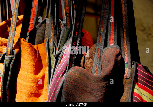 Chile Santiago Pueblito de Los Domínicos shopping tradtional clothing store fronts - Stock Image