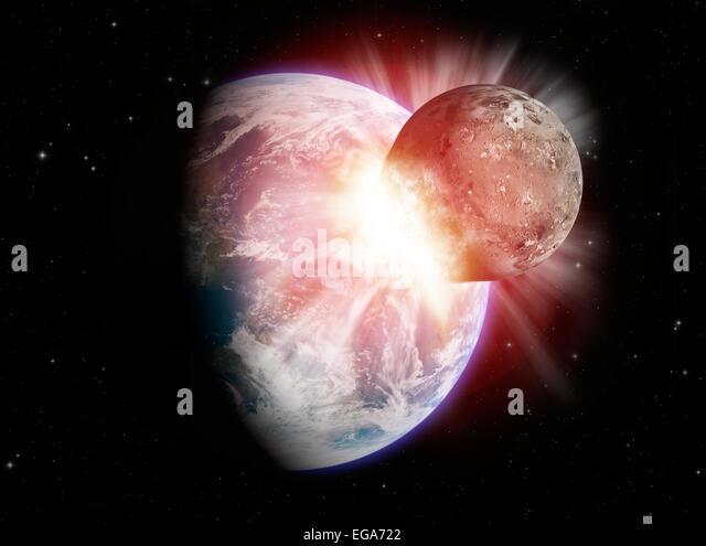 Planetary collision - Stock Image