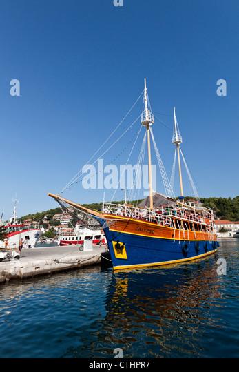 Pleasure Boat Calypso at Jelsa in Hvar , Croatia - Stock-Bilder