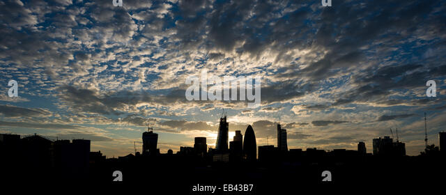 London skyline looking West from Wapping - Stock Image