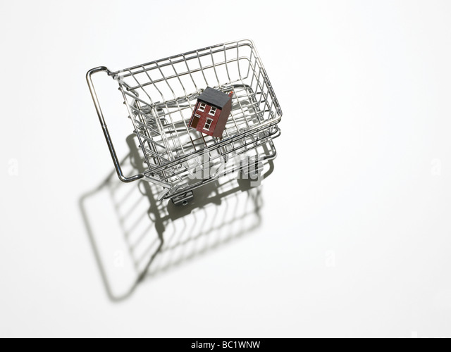house in shopping trolley - Stock-Bilder