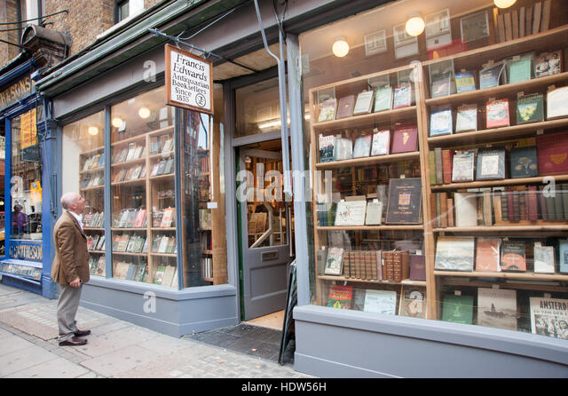 Francis Edwards Antiquarian bookshop in Charing Cross Road, London, England, UK - Stock-Bilder