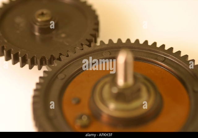 Close-up of 2 cogs - Stock Image