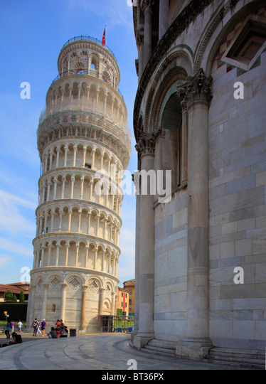 The Leaning Tower in Pisa's Square of MIracles, Italy - Stock Image
