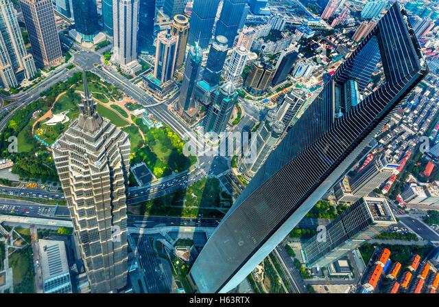 Shanghai World Financial Center Skyscraper Jin Mao Tower Cityscape Liujiashui Financial District Shanghai China - Stock Image