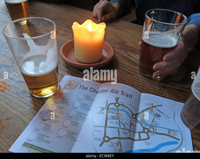 Planning the Chester Ale trail, Cheshire, England UK - Stock Image