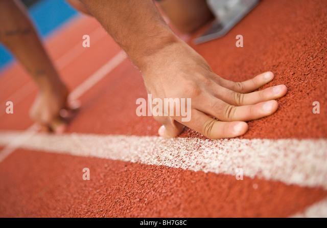 Olympics, 2012, running, track, lanes, athletics, sports, hands, track, field, starting, blocks, sport, cleats, - Stock Image