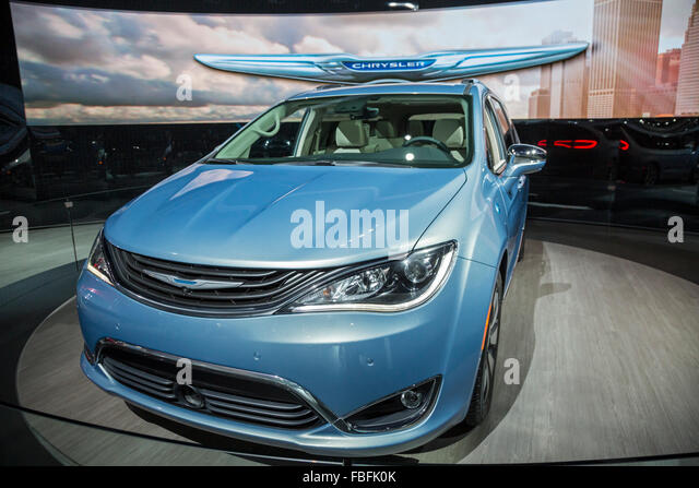Detroit, Michigan - The Chrysler Pacifica minivan hybrid on display at the North American International Auto Show. - Stock Image