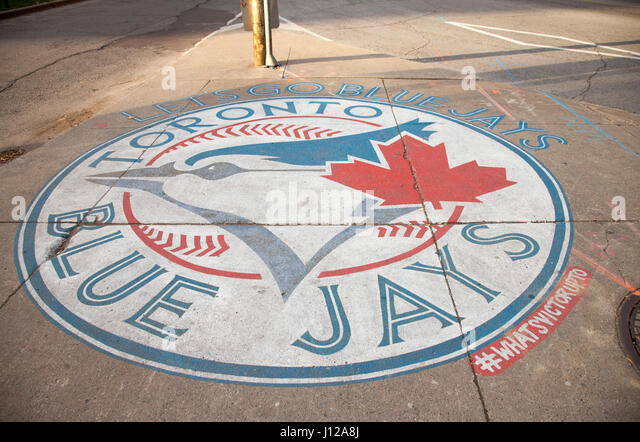 Toronto, Canada - NOVEMBER 01,2016: Sign of Toronto Blue Jays logo on the city - Stock Image