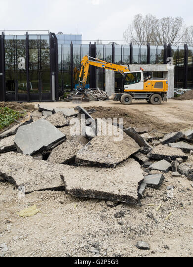 Construction site of the new headquarters of the IOC (International Olympic Committee) at Lausanne, Switzerland. - Stock Image