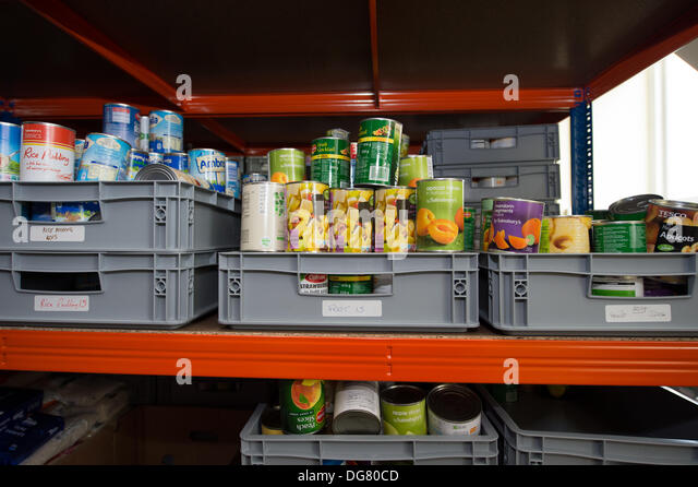 Brentwood, Essex, UK. 16th October 2013.  On World Food Day at the foodbank storage facility for the Brentwood Food - Stock Image