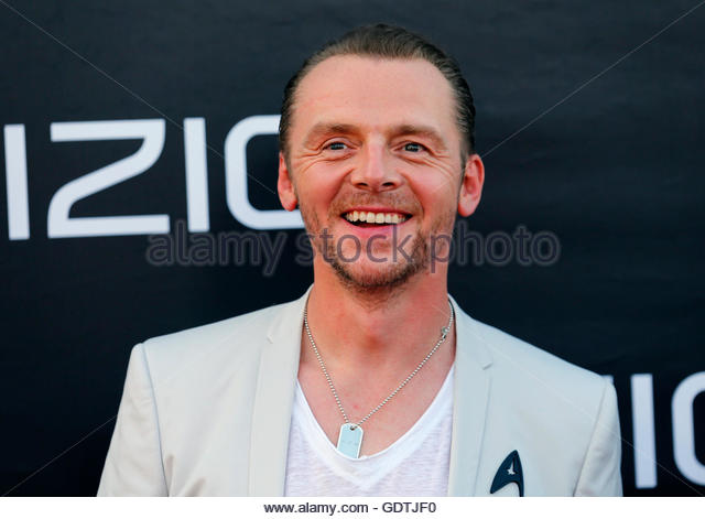 "Actor Simon Pegg arrives for the world premiere of ""Star Trek Beyond"" at Comic Con in San Diego, California - Stock Image"