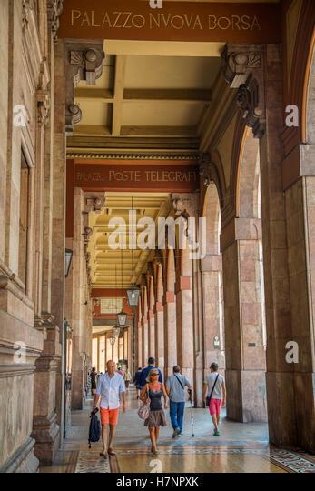 Palace new stock exchange, historic center. Old Twon. Genoa. Mediterranean Sea. Liguria, Italy Europe - Stock Image