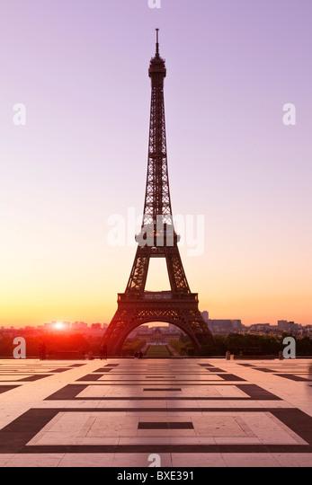 Europe, France, paris (75), Esplanade du Trocadero and Eiffel Tower - Stock Image