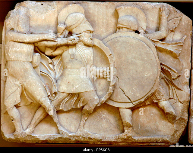 5221. THE NERED MONUMENT, C. 390 BC, MARBLE PANEL DEPICTING BATTLE SCENE WITH GREEKS AND PERSIANS - Stock Image