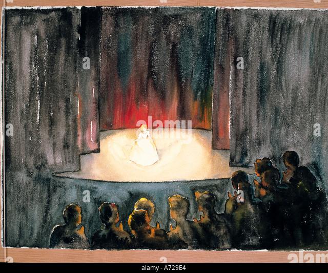 Watercolor of Opera in Vienna Austria - Stock-Bilder