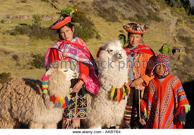 Women With Child In Native Dress And Hat Holding Llamas Peru - Stock-Bilder