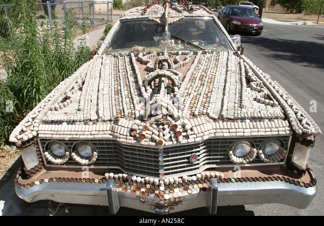 Albuquerque New Mexico art car covered with corks and bottle caps - Stock Image