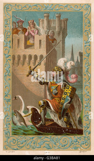 French myth: The Knight of the Swan comes  to the rescue of the Princess  of Cleves.        Date: 8th century - Stock Image