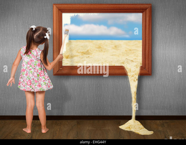 Little girl drawing picture, creative concept - Stock Image
