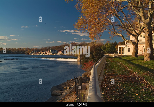 Boat House Row Philadelphia PA Fall waterfall United States view from the Museum of Art - Stock Image